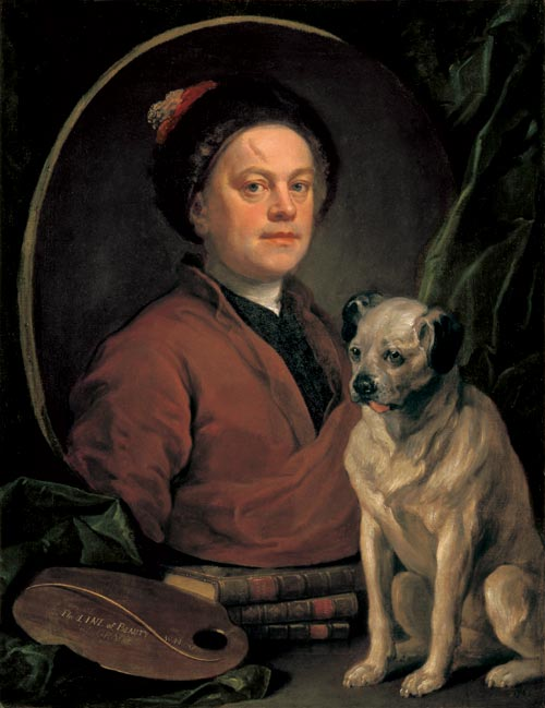 William Hogarth. <em>The painter and his pug</em>, 1745. Huile sur toile, 90 x 69.9 cm. London, Tate Britain © The Tate Gallery, London.