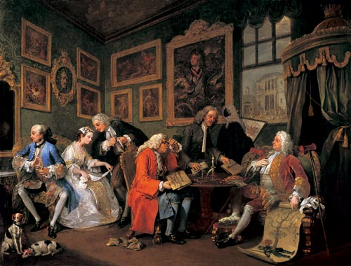 William Hogarth. <em>Mariage &agrave; la mode - 1: le contrat de marriage </em>(<em>The marriage settlement</em>), 1743. Huile sur toile 70.5 x 90.8 cm. London, National Gallery &copy; The National Gallery, London.