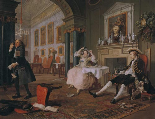 William Hogarth. <em>Mariage &agrave; la mode - 2: le t&ecirc;te &agrave; t&ecirc;te</em>, 1743. Huile sur toile, 70.5 x 90.8 cm. London, National Gallery &copy; The National Gallery, London.