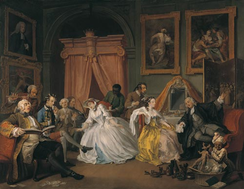William Hogarth. <em>Mariage &agrave; la mode - 4: The toilette</em>, 1743. Huile sur toile, 70.5 x 90.8 cm. London, National Gallery &copy; The National Gallery, London.