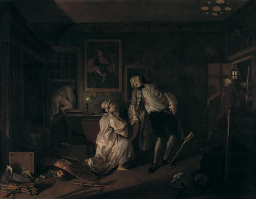 William Hogarth. <em>Mariage &agrave; la mode - 5: les bains</em> (<em>The bagnio</em>), 1743. Huile sur toile, 70.5 x 90.8 cm. London, National Gallery &copy; The National Gallery, London.