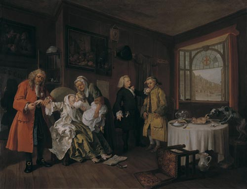 William Hogarth. <em>Mariage &agrave; la mode - 6: la mort de la comtesse</em>. (<em>The lady&rsquo;s death</em>), 1743. Huile sur toile, 70.5 x 90.8 cm. London, National Gallery &copy; The National Gallery, London.