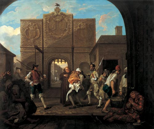 William Hogarth. <em>Oh, le roast beef de la vieille Angleterre ou la porte de Calais</em> (<em>Oh, the</em> <em>roast beef of Old England - Calais Gate</em>), 1748. Huile sur toile, 78.8 x 94.5 cm. London, Tate Gallery &copy; The Tate Gallery, London.