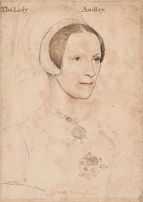 Hans Holbein. <em>Lady Audley</em>, c.1538. Coloured chalks, metalpoint, pen and ink on pink printed paper 29.2 x 20.7 cm. The Royal Collection, The Royal Library, Windsor.
