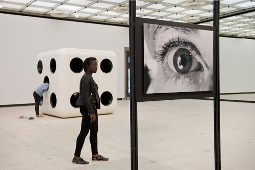 Carsten Höller. Dice, 2014 and Reflections On Her Eyes, Reflections On My Eyes, 1996, 2015. Installation view © Carsten Höller. Courtesy of the artist. Photograph: © Linda Nylind.