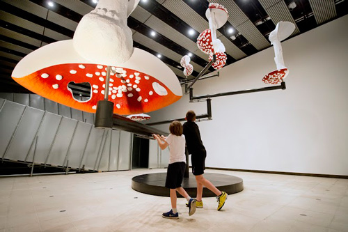 Carsten Höller. Flying Mushrooms, 2015. Installation view. © Carsten Höller. Courtesy of the artist, Photograph: © Linda Nylind.