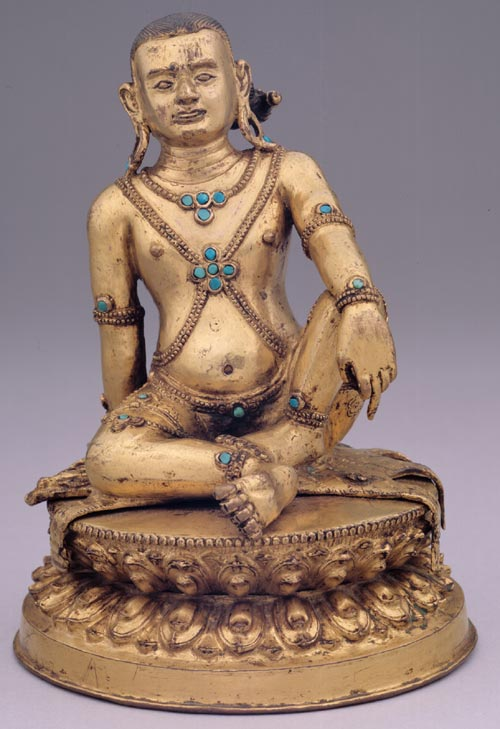 <strong><em>Avadhutipa</em></strong>, Tibet, ca. 17th – 18th century. Gilt metalwork with turquoise inlay 6 x 4 ¾ x 4 ½ in. Rubin Museum of Art, C2005.8.2 (HAR 65408)