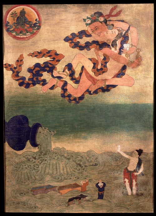 <strong><em>Ghantapa with Consort</em></strong>, Tibet, 19th century. Mineral pigments on cloth 21 x 15 &frac14; in. Rubin Museum of Art, F1996.29.5 (HAR 514)
