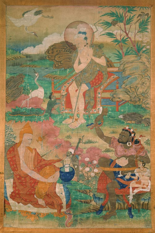 <strong><em>Kamala, Suvarnadvipa, Viraya</em></strong>, Tibet, ca. 17th century. Mineral pigments on cloth 36 x 23 &frac34; in. Rubin Museum of Art, C2004.14.2 (HAR 65349)