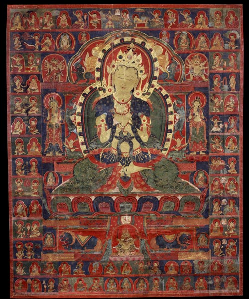 <strong><em>Vajradhara with Eighty-five Mahasiddhas</em></strong>, Tibet, 15th century. Mineral pigments on cloth 34 x 27 in. Rubin Museum of Art, C2003.50.1 (HAR 89)
