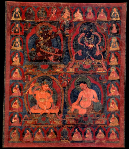 <strong><em>Virupa, Krsnapa, Damarupa, and Avadhutipa</em></strong>, Tibet, 17th century. Mineral pigments on cloth 25 x 20 in. Rubin Museum of Art, C2002.45.2 (HAR 65377)