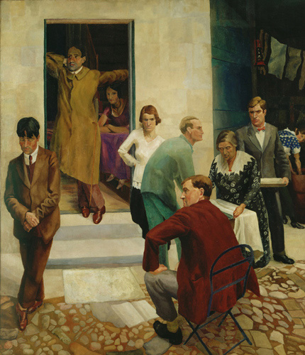 Richard Carline. <em>Gathering on the Terrace at 47</em>, Downshire Hill, Hampstead, c1924-25, Ferens Art Gallery, Hull