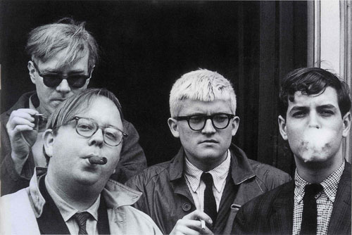 Dennis Hopper. Andy Warhol, Henry Geldzahler, David Hockney and Jeff Goodman, 1963. Photograph, 17.25 x 24.74 cm. The Hopper Art Trust © Dennis Hopper, courtesy The Hopper Art Trust. www.dennishopper.com