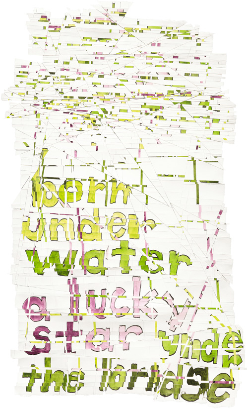 Roni Horn. Hack Wit - water star, 2014. Watercolour, pen and ink, gum arabic on watercolour paper, cellophane tape, 69.5 x 41.9 cm (27 3/8 x 16 1/2 in).