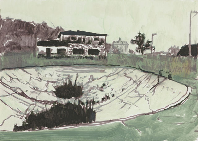 Peter Doig. Untitled (Kricket), 1999. Oil on paper, 42 x 59.5 cm (16 ½ x 23 3/8 in). © Peter Doig. Courtesy Victoria Miro, London. Photograph: Peter Hauck.