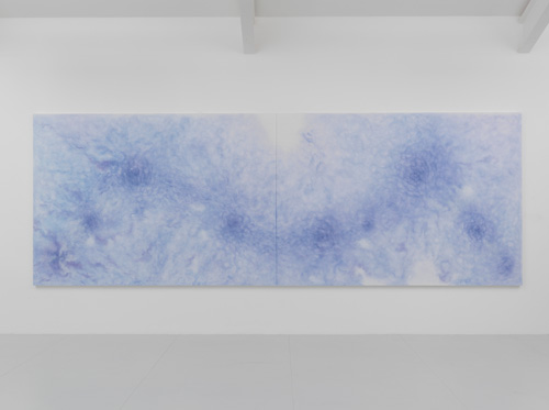 Shirazeh Houshiary. A Deluge, 2015. Pencil and pigment on white aquacryl on canvas and aluminium, 190 x 540 cm (190 x 270 cm each). © the artist. Courtesy Lisson Gallery, London.