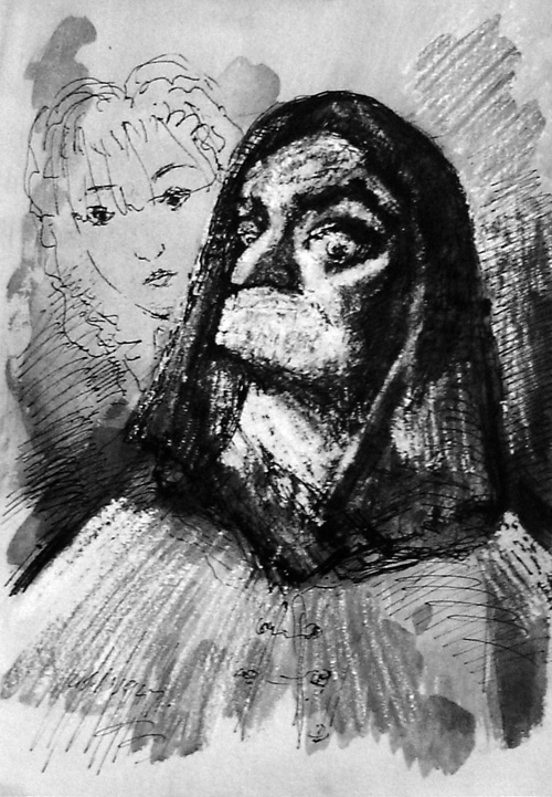 Albert Houthuesen.<em> Duena and Dancer, </em>1947. Indian ink, 14 x 10 inches (35.5 x 25.4 cm). Copyright Albert Houthuesen Estate.
