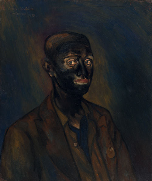 Albert Houthuesen.<em> Miner, </em>1983. Oil on canvas, 30 x 25 inches (76.2 x 63.5 cm). Copyright Albert Houthuesen Estate.