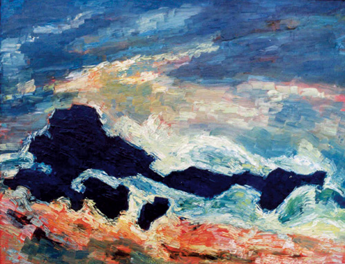 Albert Houthuesen.<em> Rocks and Storm, </em>1956–58. Oil on board, 26 x 38 inches (66 x 96.5 cm). Copyright Albert Houthuesen Estate.
