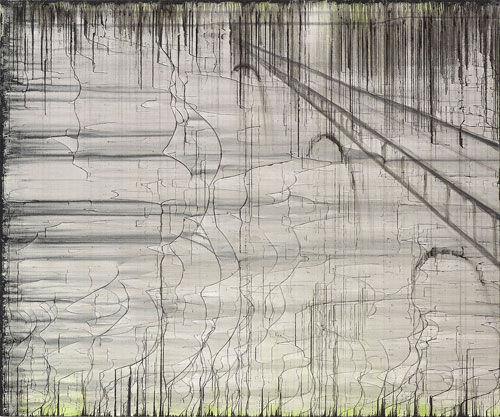 Rachel Howard. Bridge (beach banks), 2013. Oil and acrylic on canvas, 76.2 x 91.4 cm (30 x 36 in). Photograph: Prudence Cummings Associates Ltd, 2013. Image courtesy of the artist and Blain|Southern, and copyright the artist.