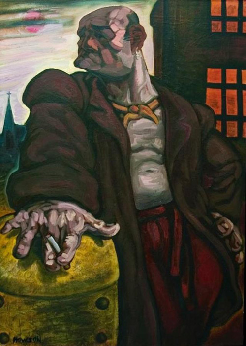 Peter Howson. Noble Dosser, 1986. Oil on canvas, 106.5 x 75 cm. © Peter Howson, Flowers Gallery, Cork St, London.