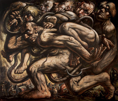 Peter Howson. The First Step, 2000. Oil on canvas, 180 x 214 cm. © Peter Howson, Flowers Gallery, Cork St, London.