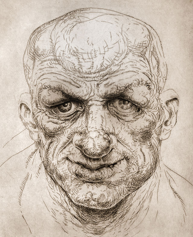 Peter Howson. Stratford, 1998. Etching, 50 x 45 cm (19 3/4 x 17 3/4 in), edition of 25. © Peter Howson, Courtesy of Flowers Gallery London and New York.