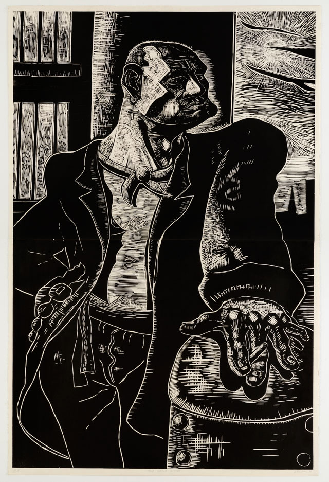 Peter Howson. The Noble Dosser, 1988. Two part woodcut, 183 x 121 cm (72 x 47 3/4 in), edition of 30. © Peter Howson, Courtesy of Flowers Gallery London and New York.
