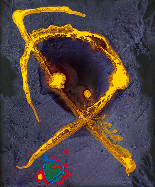 John Hoyland. <em>Saffron Medusa</em>, 2010. Acrylic on cotton duck, 36 x 30 ins (91 x 76 cms). Courtesy of Beaux Arts.