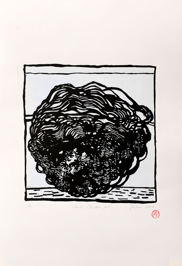 Philip Hunter. Cloud Cluster no. 3, 2016. Hand coloured linocut, sheet size: 55.5 x 38 cm. Edition: 10. Copyright the artist. Courtesy Sophie Gannon Gallery.