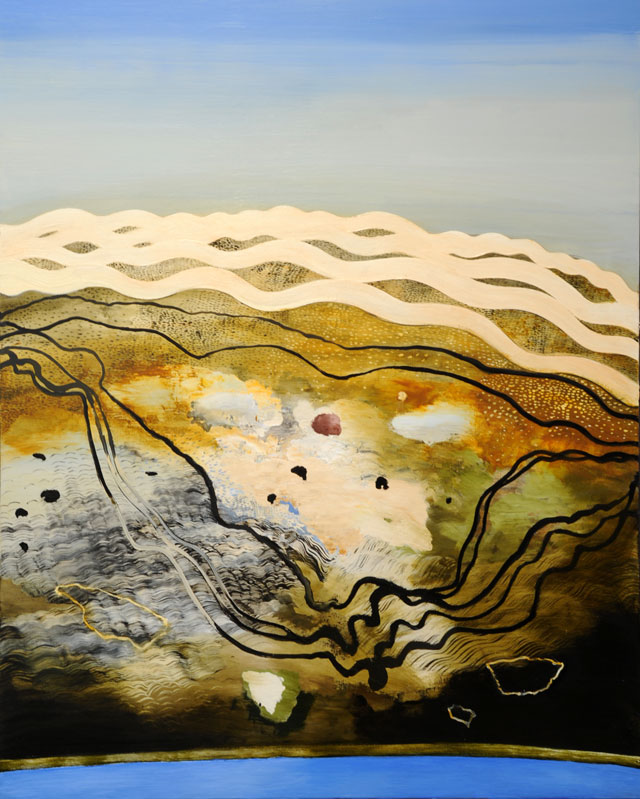 Philip Hunter. Geosphere no.5, 2015. Oil on linen, 153 x 122.5 cm. Copyright the artist. Courtesy Sophie Gannon Gallery.