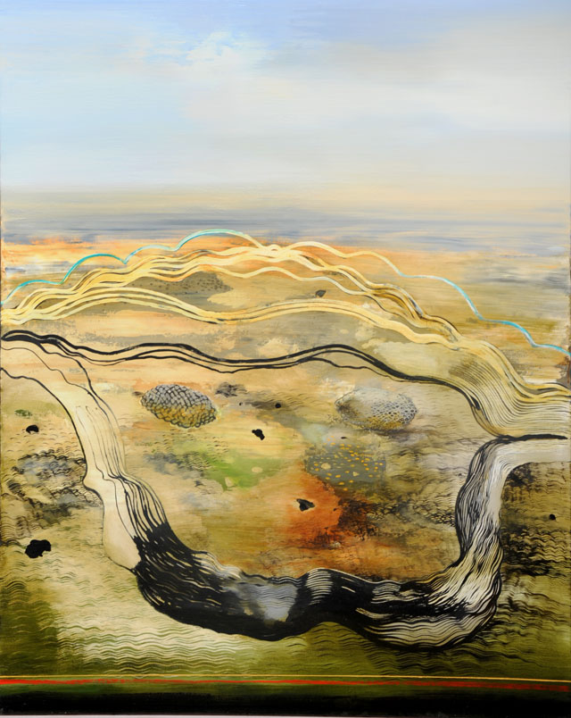 Philip Hunter. Geosphere no.6, 2015. Oil on linen, 153 x 122.5 cm. Copyright the artist. Courtesy Sophie Gannon Gallery.