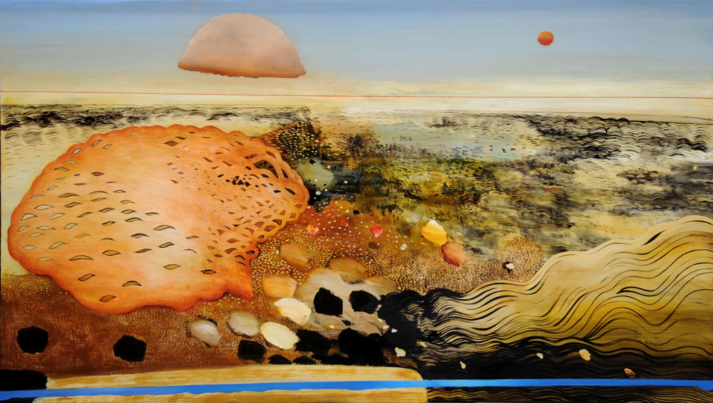 Philip Hunter. Shallow Aquifer, 2016. Oil on linen, 122 x 213 cm. Copyright the artist. Courtesy Sophie Gannon Gallery.