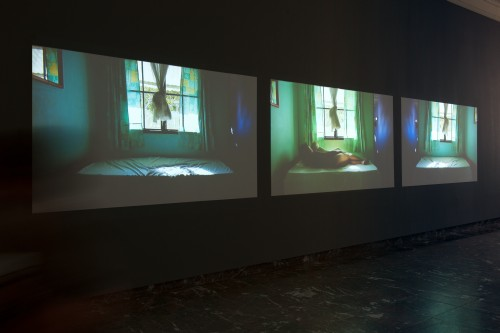 Mwangi Hutter. Turquoise Realm, 2014. Installation view, BOZAR, Brussels. Three channel video, dimensions variable. Courtesy of the artist.
