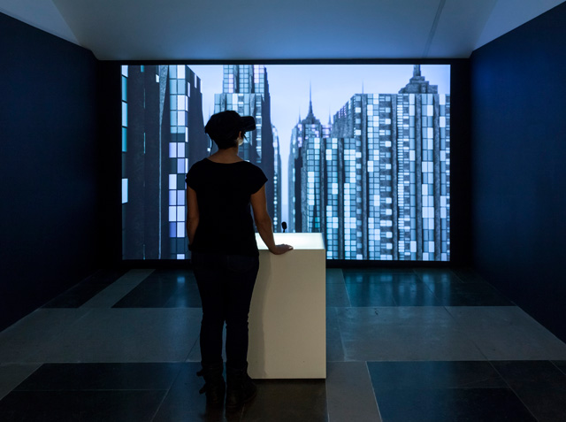 Michael Takeo Magruder with Drew Baker (3D visualisation & programming), Imaginary Cities — NYC (11062471656), 2019. Real-time virtual environment (Unity3D) with soundscape (Flash), infinite duration. Photo: David Steele © Michael Takeo Magruder.