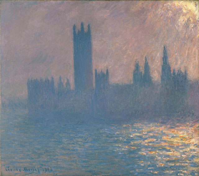 Claude Monet. Houses of Parliament, Sunlight Effect, 1903. Oil paint on canvas, 104.8 x 115.6 cm. Brooklyn Museum of Art.