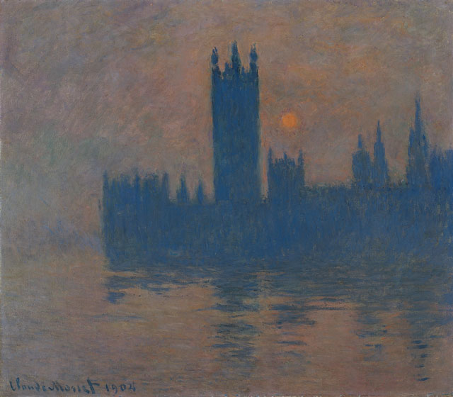 Claude Monet. Houses of Parliament, Sunset, 1904. Oil paint on canvas, 81 x 92 cm. Kaiser Wilhelm Museum.