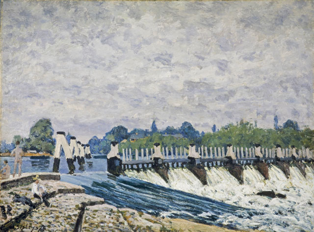 Alfred Sisley. Molesey Weir, Hampton Court, Morning, 1874. Oil paint on canvas, 51.1 x 68.8 cm. National Galleries of Scotland (Edinburgh UK).