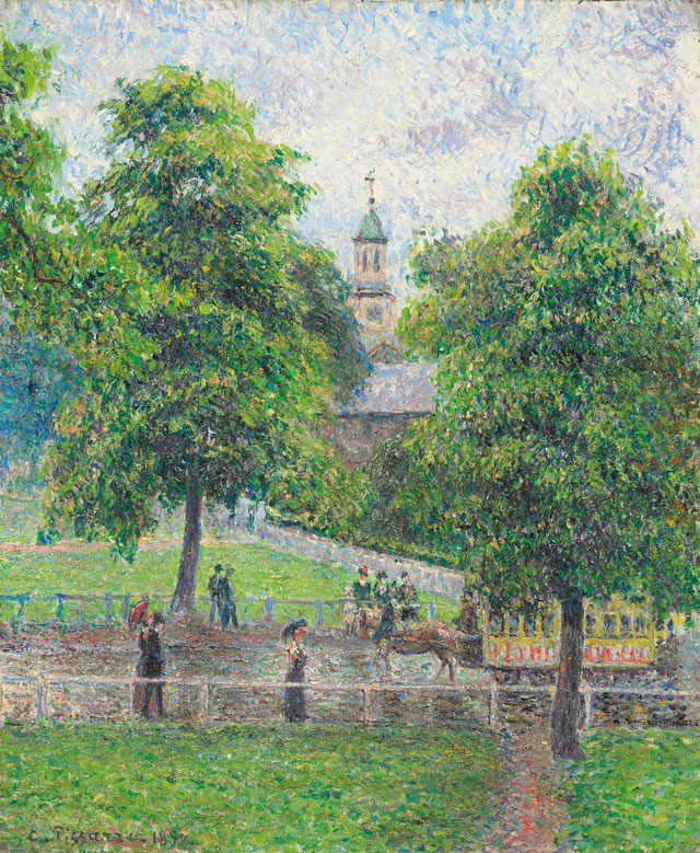 Camille Pissarro. Saint Anne's Church at Kew, London, 1892. Oil paint on canvas, 54.8 x 46 cm. Private collection.