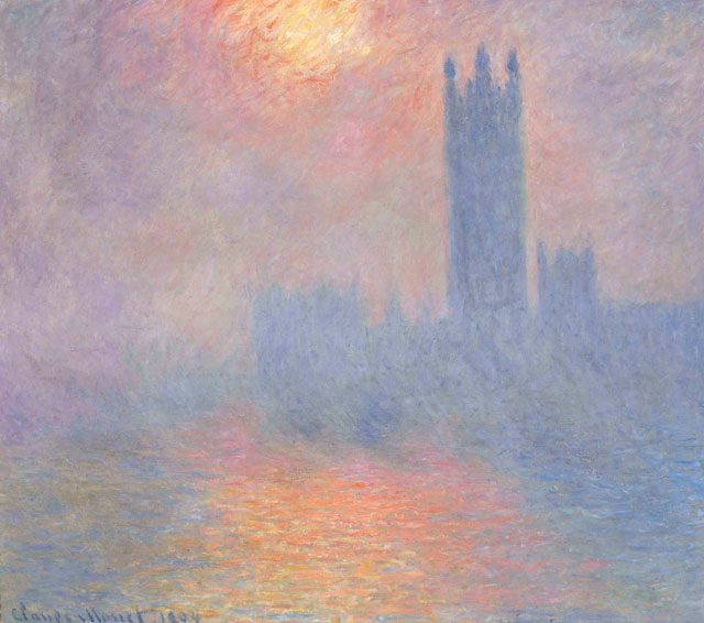 Claude Monet. Londres, le Parlement. Trouée de soleil dans le brouillard, 1904. Oil paint on canvas, 81.5 x 92.5 cm. Musée d'Orsay.