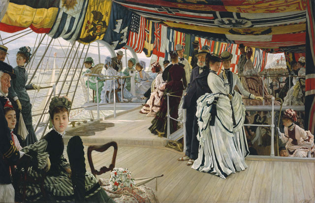 James Tissot. The Ball on Shipboard, c1874. Oil paint on canvas, 101.2 x 147.6 x 11.5 cm. Tate. Presented by the Trustees of the Chantrey Bequest 1937.