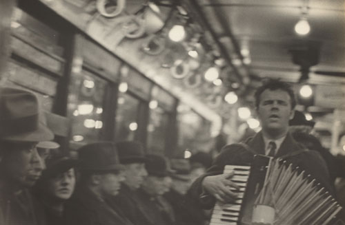 Walker Evans. <i>Subway Portraits</i>, 1938-1941. Gelatin silver print, 17.7 x 25.2 cm (6 15/16 x 9 15/16 in). Gift of Mr. and Mrs. Harry H. Lunn, Jr. in honor of Jacob Kainen and in Honor of the 50th Anniversary of the National Gallery of Art. © Walker Evans Archive, The Metropolitan Museum of Art.