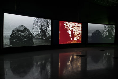 Shona Illingworth. Lesions in the Landscape, 2015. Installation view (2), FACT. Photograph: Jon Barraclough. With thanks to the Scottish Screen Archive.