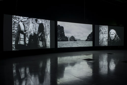Shona Illingworth. Lesions in the Landscape, 2015. Installation view (3), FACT. Photograph: Jon Barraclough. With thanks to the Scottish Screen Archive.