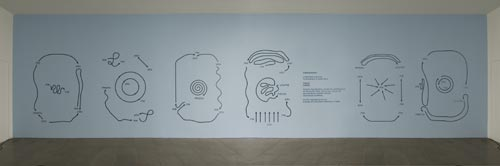 Ricardo Basbaum. <em>Diagrams (superpronoun) 1-6</em>, 2003. Vinyl on monochromatic background. Photograph by Ken Adlard. Courtesy of the artist and Lisson Gallery, London © Ricardo Basbaum, 2007