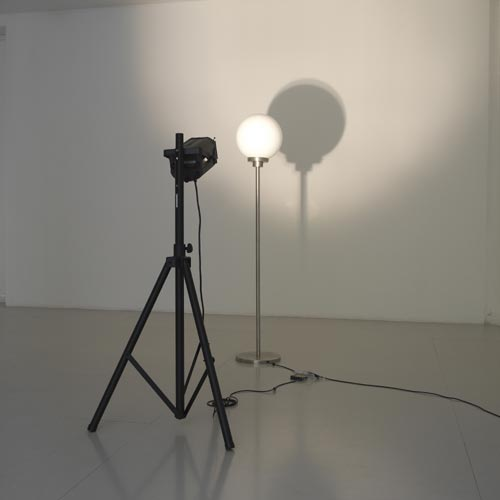 Haegue Yang. <em>Relational Irrelevance (Version Utrecht)</em>, 2006. Floor lamp, spotlight, timer. Photograph by Ken Adlard. Courtesy of the artist and Lisson Gallery, London © Haegue Yang, 2007