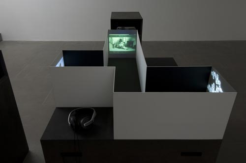 Pia Rönicke. <em>Model for Cinema</em>, 2007. Model and three video projections. Photograph by Ken Adlard. Courtesy of the artist and Lisson Gallery, London © Pia Rönicke, 2007