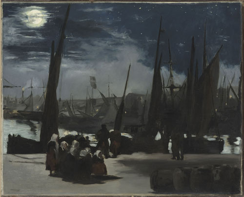 Edouard Manet. Moonlight at the Port of Boulogne, 1868. Oil on canvas, 81.5 x 101 cm. Paris, Musée d'Orsay, bequeathed by Count Isaac de Camondo, 1911. © RMN-Grand Palais (musée d'Orsay)/Hervé Lewandowski.
