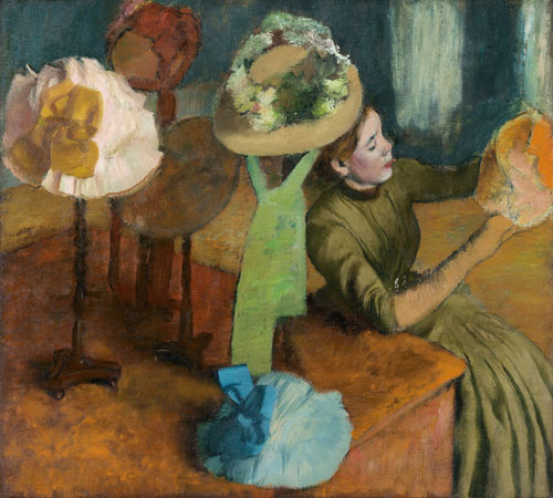 Edgar Degas. The Millinery Shop, ca. 1882–86. Oil on canvas, 100 x 110.7 cm. The Art Institute of Chicago. Mr. and Mrs. Lewis Larned Coburn Memorial Collection.