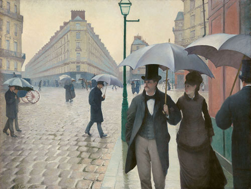 Gustave Caillebotte. Paris Street; Rainy Day, 1877. Oil on canvas, 212.2 x 276.2 cm. The Art Institute of Chicago